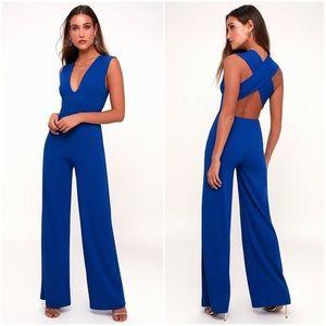 NWOT Lulus Thinking Out Loud Royal Blue Jumpsuit